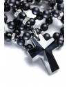 Total Black matte Onyx, Faceted Glossy Onyx, strass rings, Swarovski Crucifix