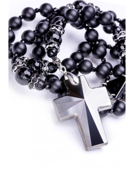 Total Black matte Onyx, Faceted Glossy Onyx, Black strass rings, Swarovski Crucifix and Center