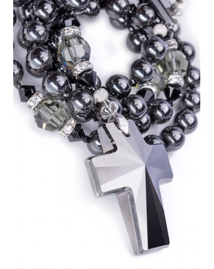 Swarovski Jet Black beads and Crucifix, Hematite and Black Crystals.