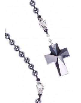 Swarovski Jet Black beads and Crucifix, Hematite and Black Crystals.