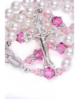 Freshwater Pearls, Pink Swarovski Crystals, Strass rings. Sterling Silver.