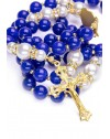 Deep Blue Agate, Freshwater White Pearls, Sterling silver gold plated Crucifix and Center