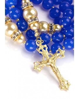 Sweet Blue and Satin Gold Rosary