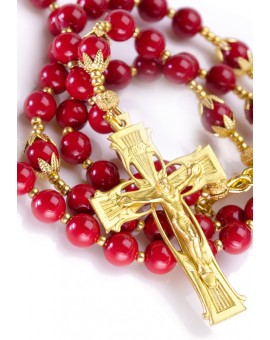 Red Pearls 6mm and Gold Rosary
