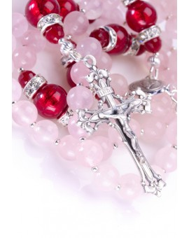 Deep Scarlet Red and Pink Rosary
