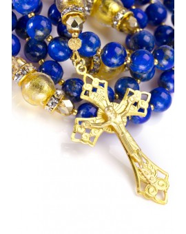 Navy Blue Lapislazuli and Gold Rosary