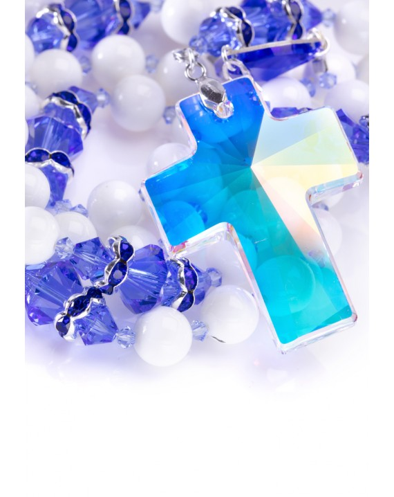 Sapphire Swarovski Crystals and White Shell Rosary