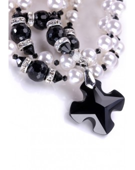 Swarovski Black and Pure White Rosary