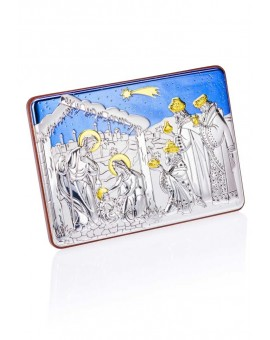 Painted Bilaminate Nativity scene with blue sky