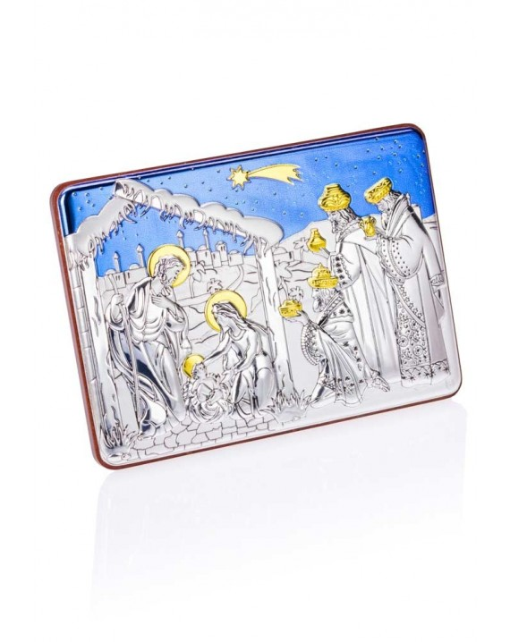 Handpainted Silver Nativity scene with blue sky
