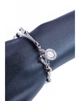 Sterling Silver Bracelet with Miracolous Medal