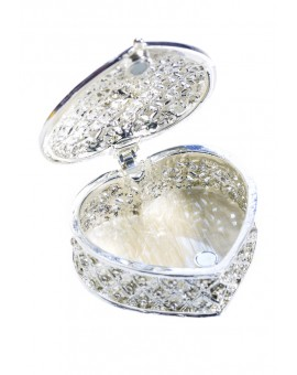 Metal and Strass Rosary Box - Shape of a Heart