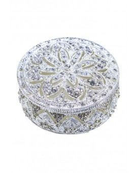Metal and Strass Circular Rosary Box