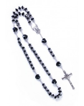 Black Crystal hearts Rosary - Sterling Silver