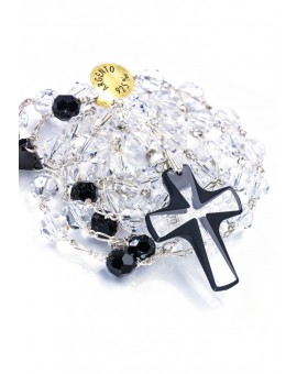Clear and Black Swarovski Rosary - Crystal Crucifix