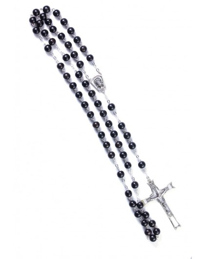 Gray Cultured Pearls Rosary - Sterling Silver