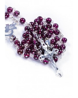 Garnet fine Rosary Necklace - Sterling Silver