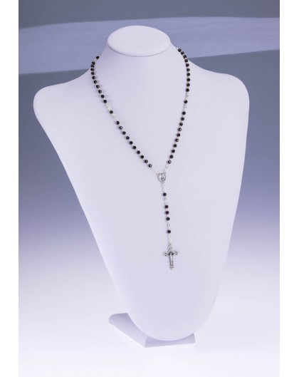 Black Faceted Agate Rosary Necklace