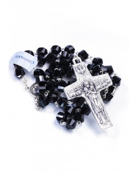 Pope Francis Black Crystal Rosary