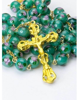 Green Murano Glass Rosary 6mm Gold Plated