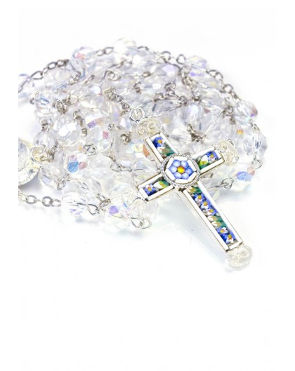 Real Mosaic Crucifix - Clear Crystal Rosary