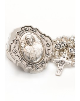 Pope Francis Rosary with Rosary Box - Silver