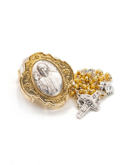 Pope Francis Rosary with Rosary Box - Gold