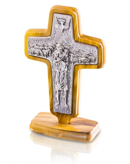 Pope Francis Pastoral table Cross - Metal and Olive wood