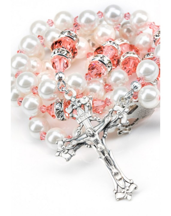 Ancient Rose and white Swarovski Pearls Rosary - White Strass
