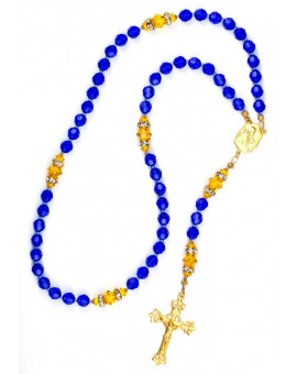 Majestic Blue and Sunflower Swarovski Crystals Rosary