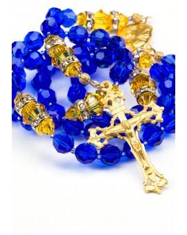 Majestic Blue and Sunflower Swarovski Crystals Rosary