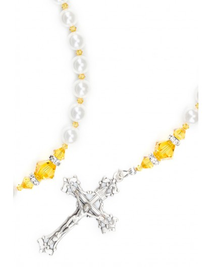 Sunflower and  Swarovski Pearls Rosary