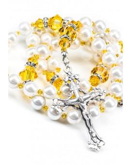 Sunflower and  Swarovski Pearls Rosary
