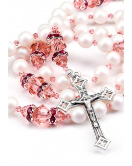 Ancient Rose and Satin Swarovski Pearls Rosary - Red Strass