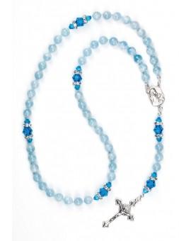 Natural Acquamarine and Sapphire Swarovski Rosary