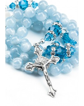Natural Acquamarine and Sapphire Swarovski Rosary
