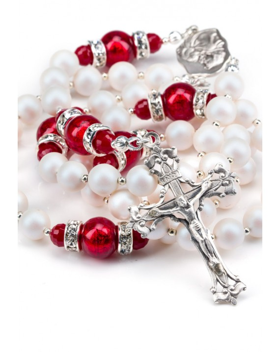Deep Red and Satin Swarovski Pearls Rosary - Silver Spacer