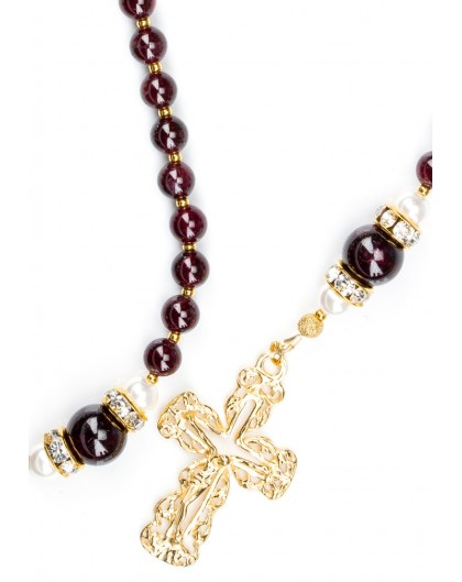 Deep Dark Granate Red Rosary