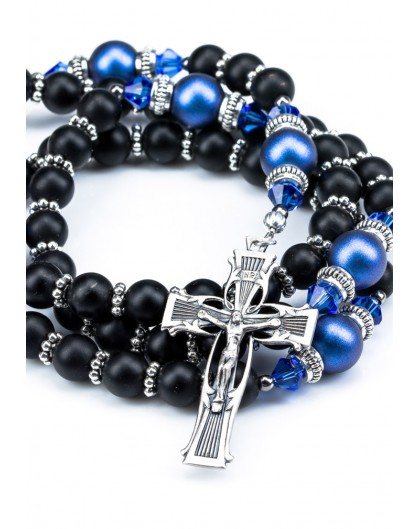 Satin Black and Iridescent Dark Blue Swarovski Pearls