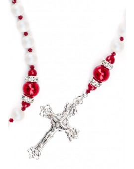 Deep Red and Satin Swarovski Pearls Rosary - Red Spacer