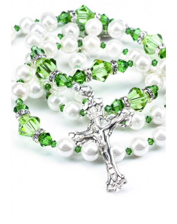 Swarovski Pearls and Peridot Green Rosary