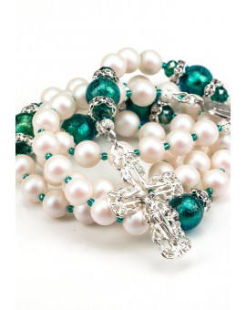 Swarovski Pearls, Emerald Green Murano beads