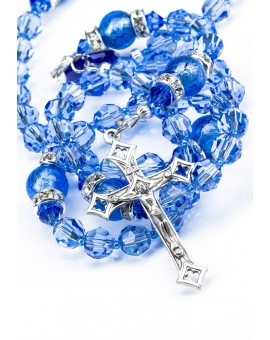 Sapphire Swarovski Crystals and Murano Glass Beads Rosary