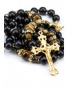 Ebony wood, Tiger Eye beads, strass Rings, Sterling Silver Gold Plated