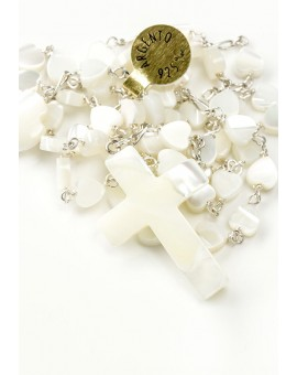The Rose Baptism box - Heart Mother of Pearl Rosary and Doves Christening dress