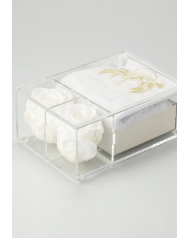 The Rose Baptism box - Pale Rose Rosary and Doves Christening dress