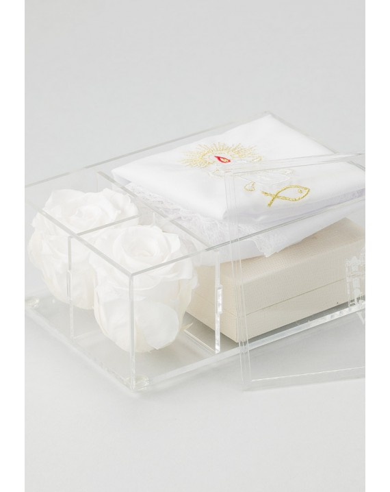 The Rose Baptism box - Pale Rose Rosary and Candle Christening dress