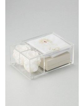 The Rose Baptism box - Heart Mother of Pearl Rosary and Candle Christening dress
