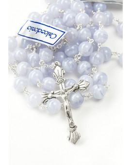 The Rose Baptism box - Pale azure Rosary and Candle Christening dress