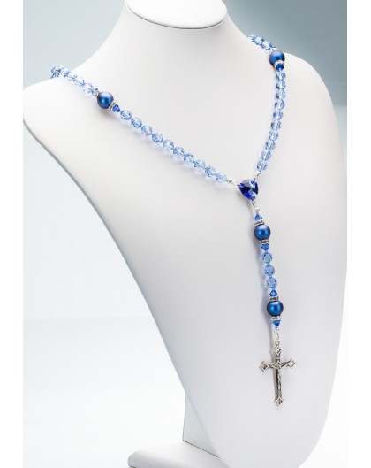 Light Sapphire Swarovski Crystals and Dark Blue Pearls Rosary